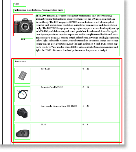 5. The result is shown in the following image. The product item D300 accessories are published in one table.