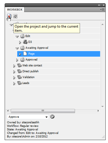 12.2 Opening Project Items From the Workbox To work on an InDesign item in a workflow stage, just select that particular item and click the Open
