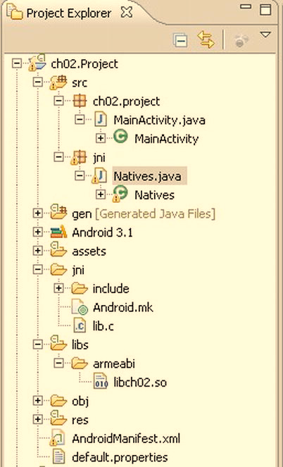24 CHAPTER 2: Gaming Tricks for Phones or Tablets Figure 2 2. Project layout The jni folder contains the native code including (see Figure 2 2): lib.c: This is the main library code.