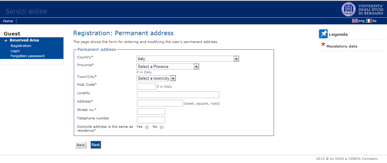 4-Fill in the information required about your permanent address at home - (fields with * are mandatory).