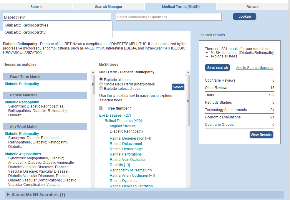 MESH TAB THE BASICS Chapter : The Cochrane Library Search Tour Use the Medical Terms (MeSH) Tab to search for medical concepts using the Medical Subject Headings (MeSH) thesaurus.