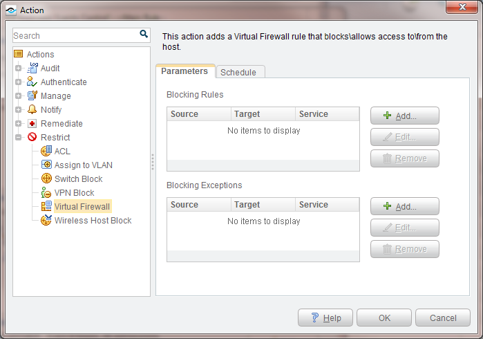 Below is an illustration of the Action dialog window that shows some of the options available for building control policies that Restrict an endpoint, such as Assign