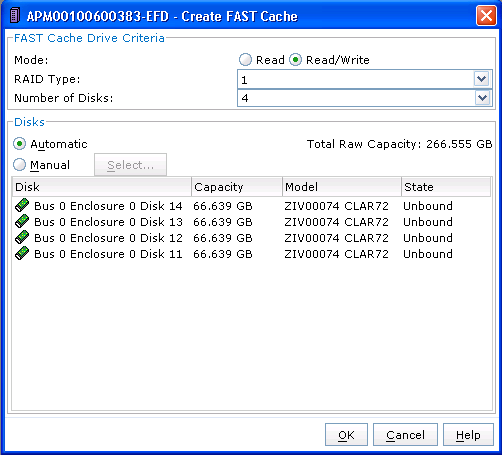 Figure 6. FAST auto-tiering schedule policy settings FAST Cache can be created through a simple EMC Unisphere Analyzer interface as shown in Figure 7.