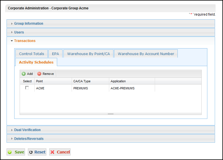 11 From this screen the Corporate Admin can select the appropriate Transaction tab and checkbox and Add or Remove transactions from this group.