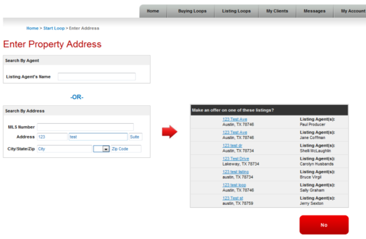 The property addresses are integrated with the Keller Williams Listing System (KWLS).