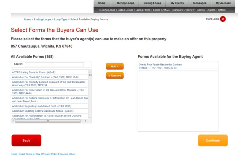 Lesson 9: Advanced mytransactions 3. From here, you will choose what forms the buyer agent has access to.