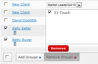 Lesson 5: mycontacts 3. Go Back to the Contacts Page and select the ones you want to add to the group. Then click on Add Groups and select the one that you just setup.