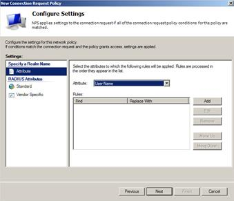 Installing the NPS and RADIUS Roles on Windows Server 2008 How to Create a New Connection Request Policy for VPN Users, continued Step Action 16.