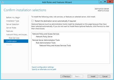 Installing the NPS and RADIUS Roles on Windows Server 2012 How to Add Roles and Features, continued Step