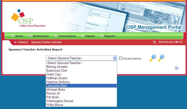 Activity Reports Viewing Reports 1. To view reports of what students have paid for particular activities, click the Sponsor/Teacher Activities option from the Reports menu dropdown. 2.