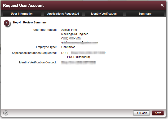 The following graphic shows a sample Applications Requested tab on the Request User Account dialog box.