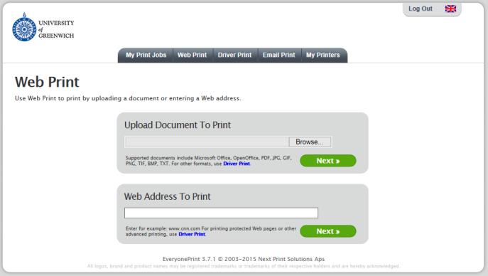 Select the My Print Jobs tab to upload a document for printing, or the Web Print tab if you wish to print a web page or upload a document for printing. 3.