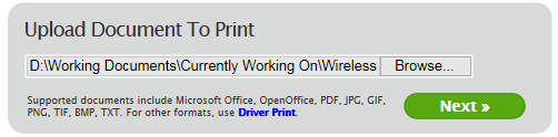 Uploading a Document or Webpage to Web Print Note: The screen shots in this document are taken from Internet Explorer 11. Other browsers may display these pages slightly differently. 1. Go to https://webprint.