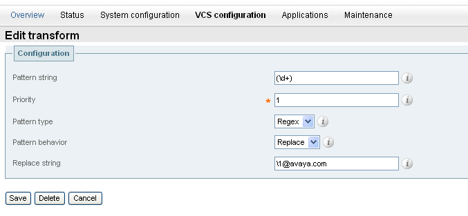 Click on the VCS Configuration tab and then the TransformsNew. Configuring the following as shown in the sample configuration and click Save.