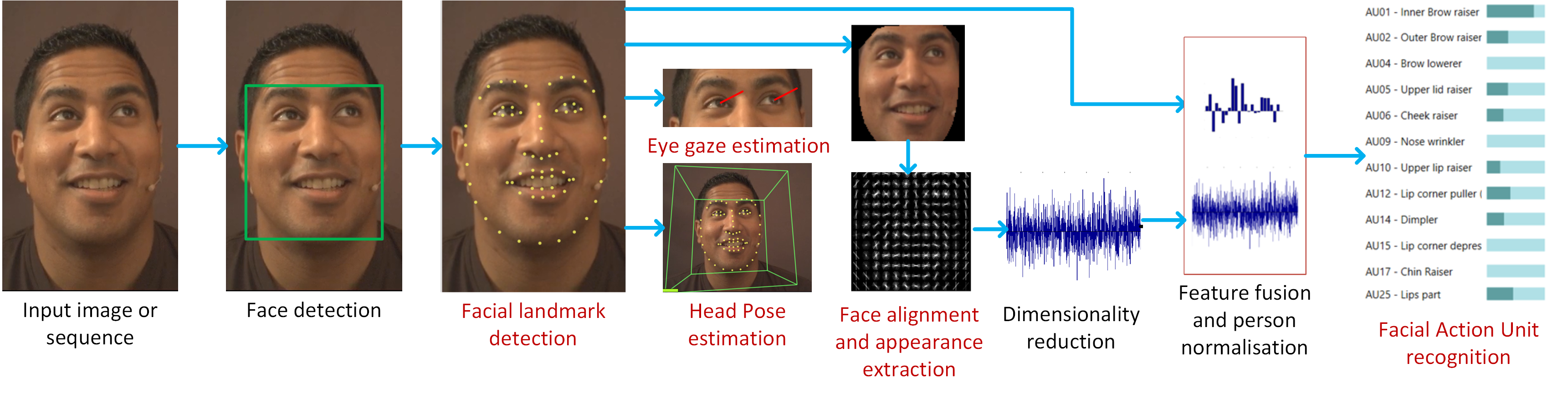 Figure 2: OpenFace facial behavior analysis pipeline, including: facial landmark detection, head pose and eye gaze estimation, facial action unit recognition.