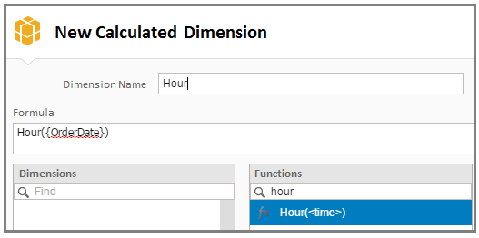 Order Date (datetime) Order ID (number) Product Type (string) 1. The first step is to create an Hour column. Let's create this column using a calculated dimension based on the Order date column: 1.