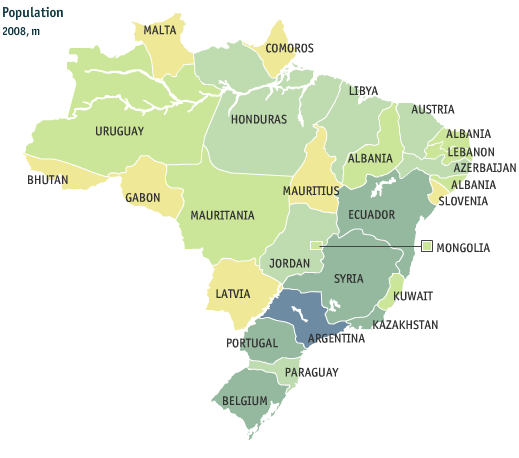 COUNTRY PROFILE Brazilian Equivalent Population in The World 10 Largest Population in the World 0 200 400 600 800 1.000 1.200 1.400 1.