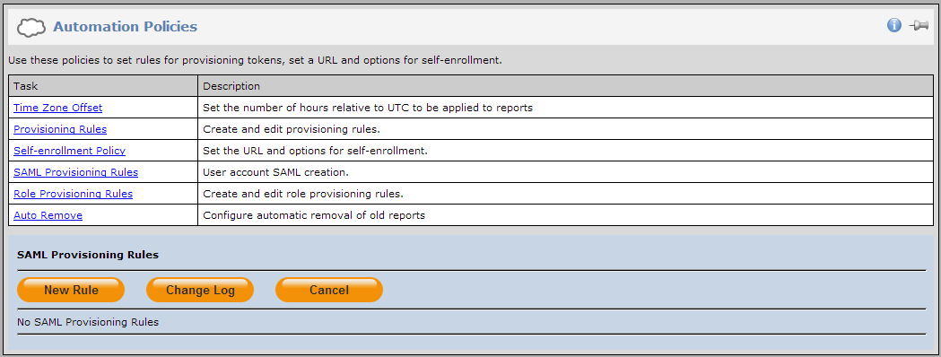 2. Click the POLICY tab, and then click Automation Policies. 3.