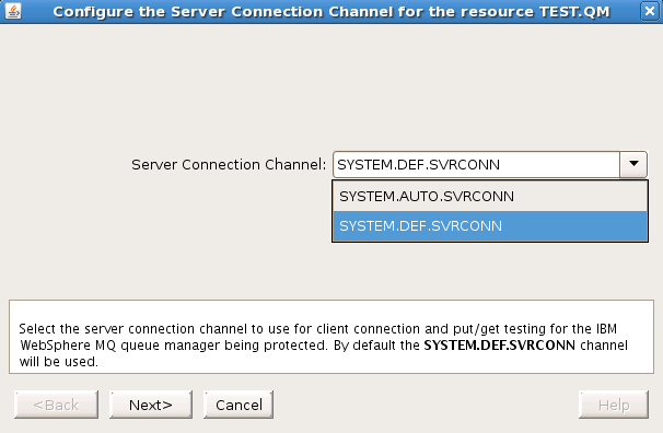 Changing the Server Connection Channel Changing the Server Connection Channel GUI First navigate to the WebSphere MQ resource properties panel or the resource context menu described above.