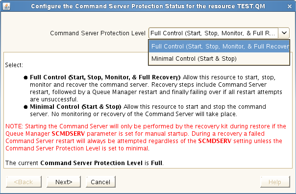 Changing the Command Server Protection Configuration Changing the Command Server Protection Configuration GUI First navigate to the WebSphere MQ Resource Properties Panel or the Resource Context Menu