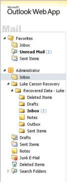 Restore the completed mailbox Say, for example, that you have a user named Luke Carson who has deleted the entire contents of his mailbox, and you need to recover all of his mail.