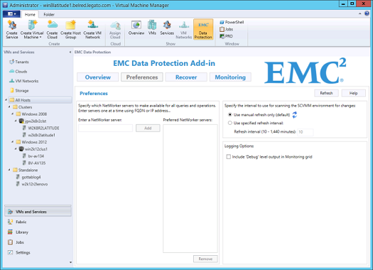 EMC Data Protection Add-in for SCVMM Figure 13 Data Protection Add-in for SCVMM Preferences page Adding NetWorker servers You can search for virtual machine backups on multiple NetWorker servers.