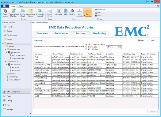 EMC Data Protection Add-in for SCVMM Recoveries The Recover page displays a list of all VMs managed by SCVMM that are backed up by a NetWorker server in the Preferred Servers list and in the current
