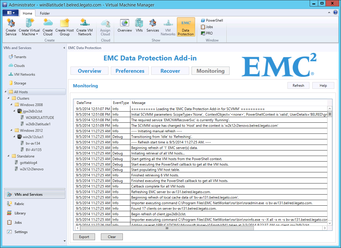 EMC Data Protection Add-in for SCVMM Recovering a deleted virtual machine NetWorker administrator to perform a backup of the Hyper-V host where the virtual machine currently resides.
