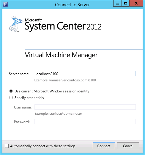Confirm that the console connects to your Virtual Machine Manger server or Hyper-V cluster and that it displays an accurate depiction