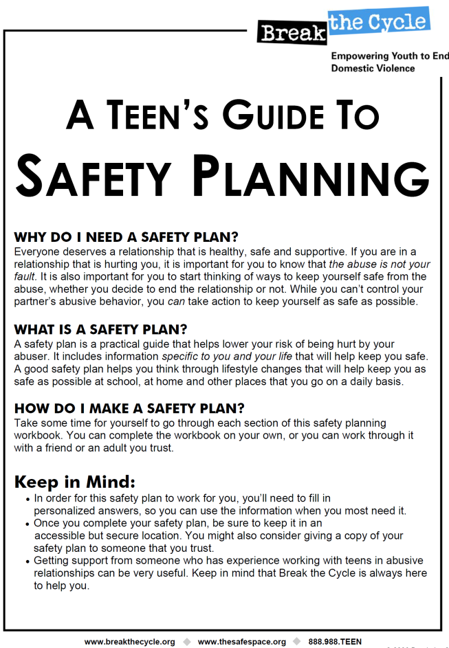 Printables Domestic Violence Safety Plan Worksheet dv safety plan worksheet intrepidpath relationship violence prevention in youth