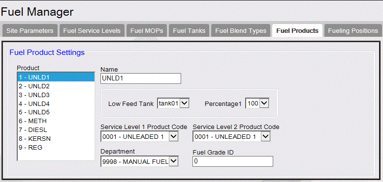 Fuel Manager Fuel Products Use to define product names and tank blending parameters. Click a text box to enter, edit, or select a value.