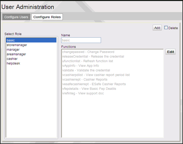 Commander Site Controller User Reference To Edit a Role 1. Select the role from the Roles list. 2. Click Edit at the Functions box. 3. Change the name in the Role Name text box. 4.