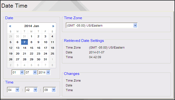 Other Configuration Initial Setup Date Time The Date & Time Configuration form is used to verify or edit the date, time, and time zone on the Commander Site Controller.