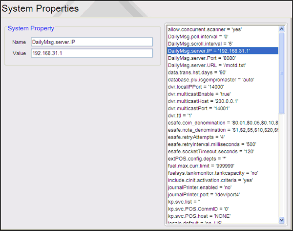 Other Configuration Field/Button Allowable Value/Function System Property Name Value Save Displays the property name. Displays the property value. Click to save the selected Properties.
