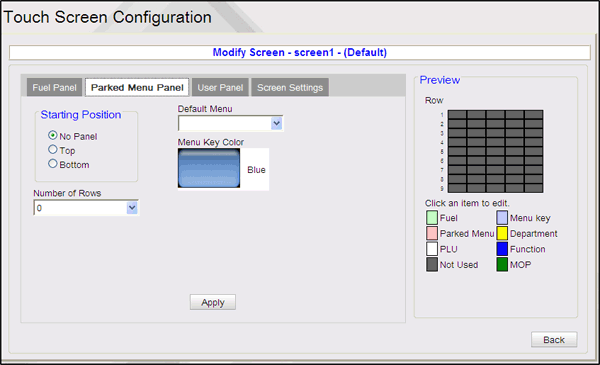 Other Configuration Field/Button Fixed Prepay Buttons Item Properties - Fueling Point Apply Reset Allowable Value/Function Click on the buttons to change the fixed prepay amount.