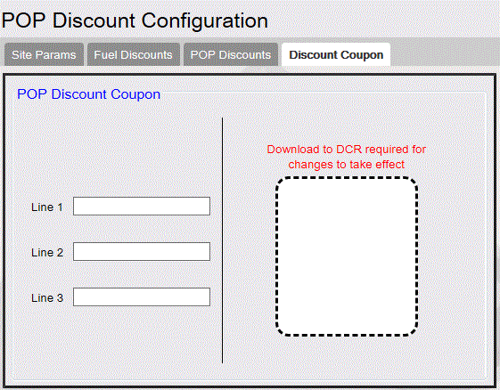 Commander Site Controller User Reference Discount Coupon After any configuration changes, go to Initialization and do the following: Fuel DCR Reporting POP Discount Report The POP Discount Report