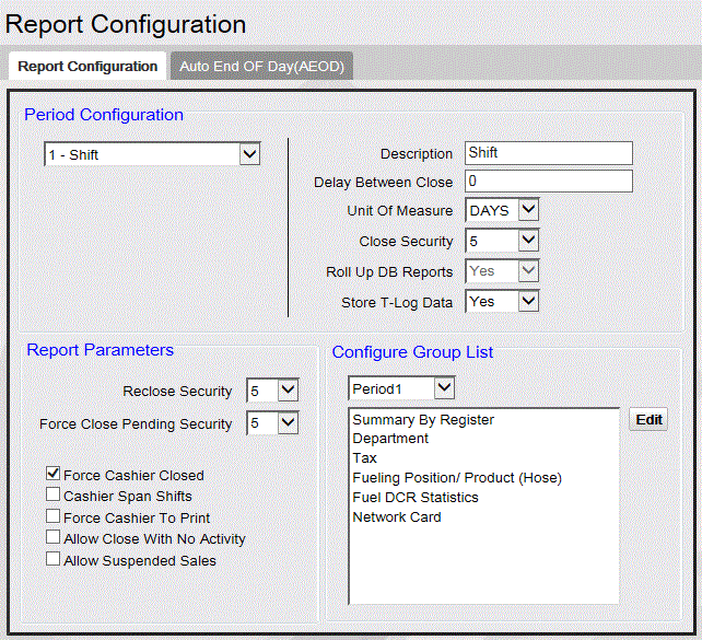 Reports Manager Field/Button Allowable Value/Function Period Configuration Select the period to be configured. Note: This period selection does not apply to the Configure Group List.