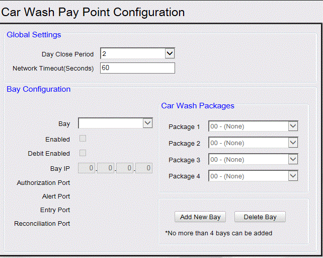 Car Wash Pay Point Functions Field/Button Global Settings -Day Close Period Network Timeout Allowable Value/Function Select the period when the Car Wash Pay Point totals are closed.
