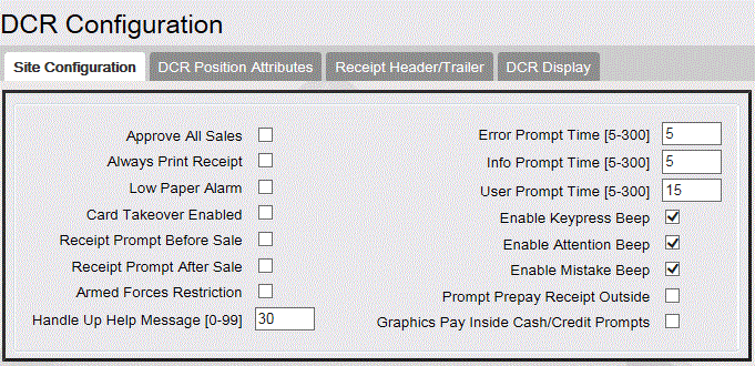 Commander Site Controller User Reference Field / Button Approve All Sales Always Print Receipt Low Paper Alarm Card Takeover Enabled Receipt Prompt Before Sale Receipt Prompt After Sale Armed Forces