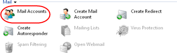 Step 4 Click on the Mail Accounts icon in the Mail section Step 5 On the next screen you will see a list of all mailboxes that have already been set up on the domain.