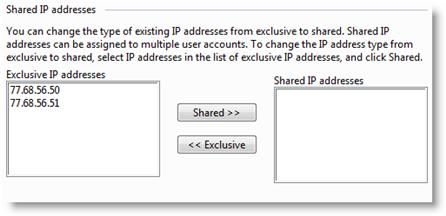 The Plesk control panel allows you to assign IP addresses to a specific use, or to allow your IP addresses to be shared among all your