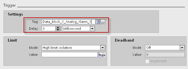 3 Configuration of messages in WinCC Basic / Comfort / Advanced Screens 3. In the table, double-click on <Add new> to create an analog alarm. 4.