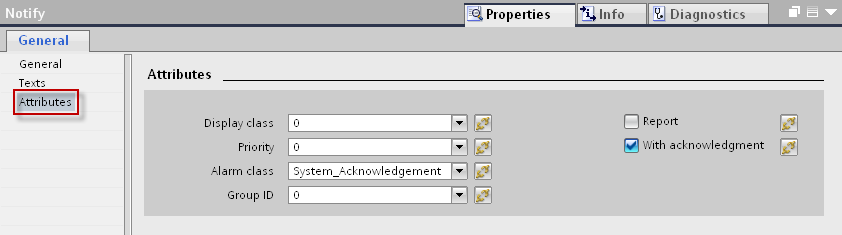 13. Select the NOTIFY message you created, under the tab PLC alarms and in the inspector window, open the tab Properties > General > Texts.