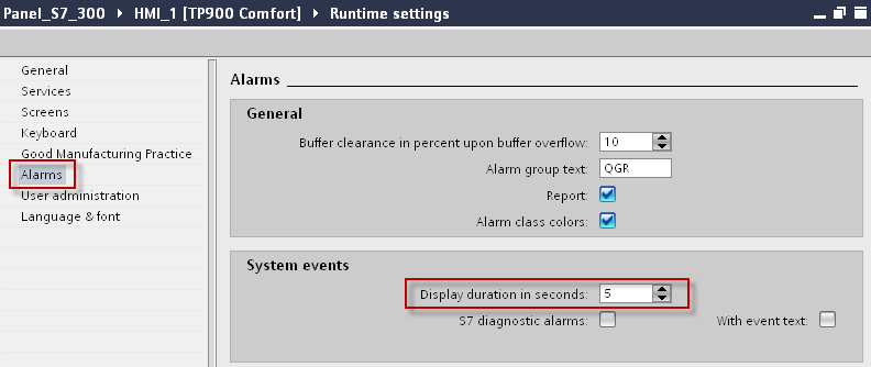 3 Configuration of messages in WinCC Basic / Comfort / Advanced Display of the system alarms on the control panel in runtime If you want to display the system alarms, an alarm display must have been