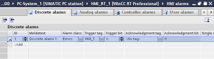 Optional settings for discrete alarms Creating a tooltip Table 4-10 With a tooltip you can provide the system operator with further information and instructions in addition to the alarm text. 1.