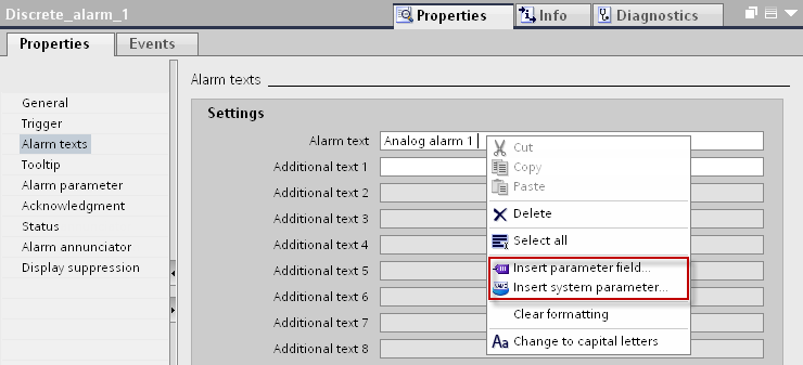 Output of a dynamic parameter in the alarm text Table 4-15 When a discrete alarm comes, it is possible to display process values and system parameters in the output box. 1.