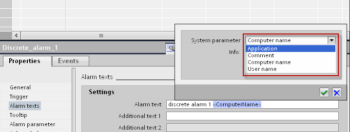 System parameters 13. Inserting system parameters Open the drop-down list under Parameters and select a parameter.