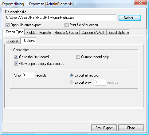 14 3. Click Export Data button. 4. Export dialog appears on the screen. 5. Switch to Export Type tab. 6.