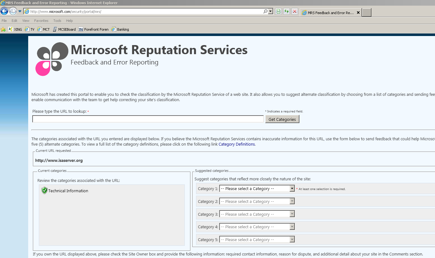 Figure 4:Microsoft Reputation Services (MRS) The MRS website can also be used to suggest other URL categories if you are the owner of the website and in your opinion other URL categories better