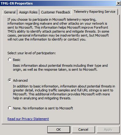 Figure 6: Forefront TMG Telemetry Reporting Service Forefront TMG is not the only Microsoft product which can be used with